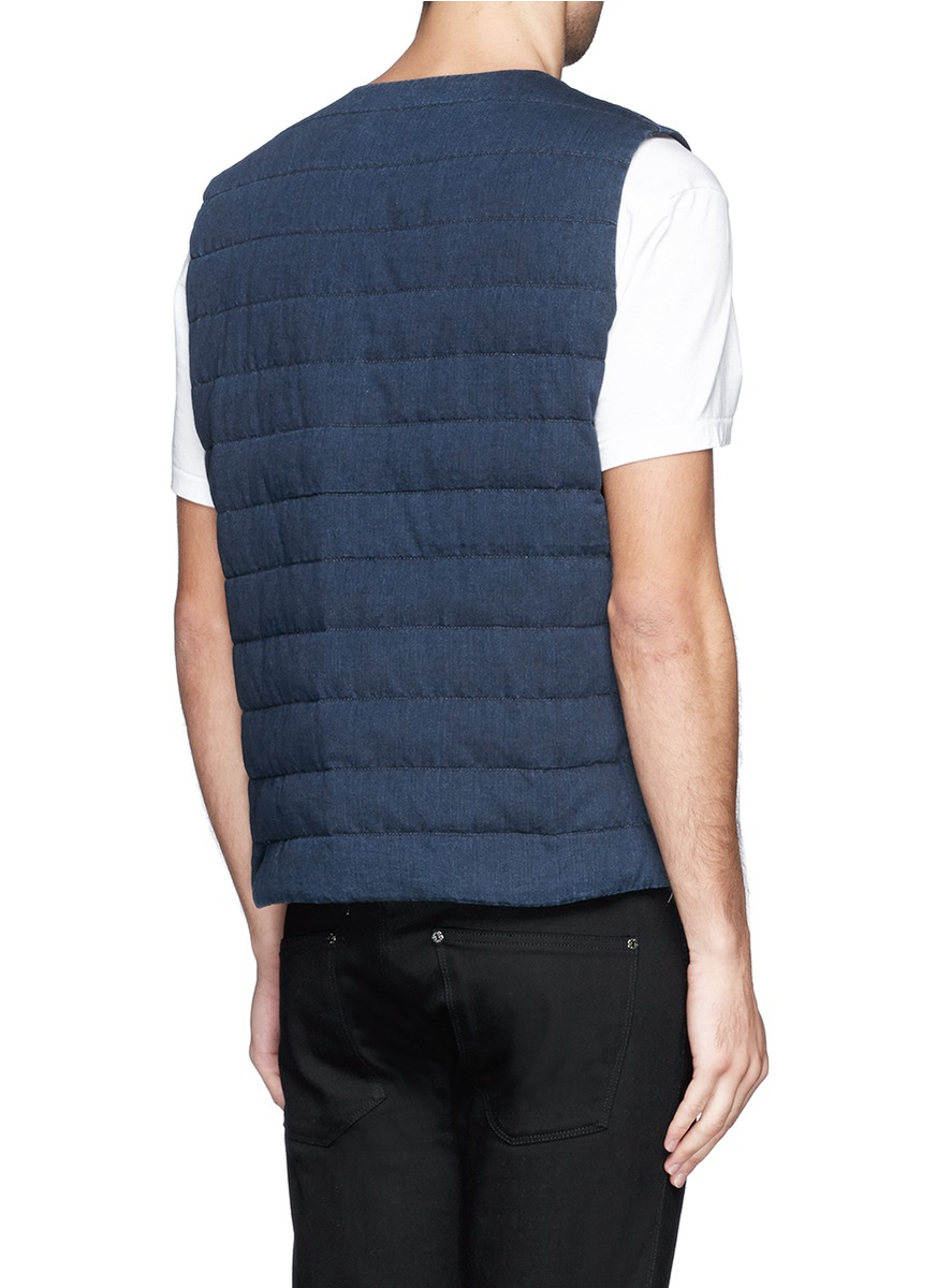 Nanamica Reversible Quilted Denim Cycling Vest In Blue For