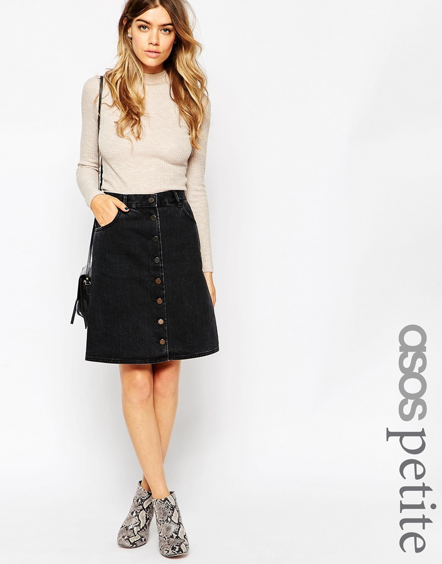 Asos Petite Denim Polly A-lline Button Midi Skirt In Washed Black ...