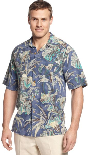 Tommy bahama big and tall silk botanica bay shirt in blue for Tommy bahama florida shirt