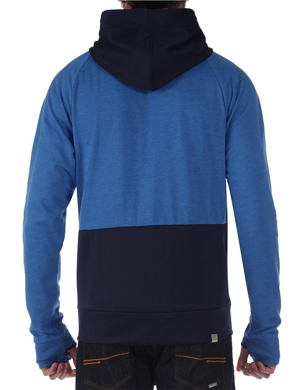 Bench pittville colorblock raglan zip hoodie in blue for for Blue piscine colmar
