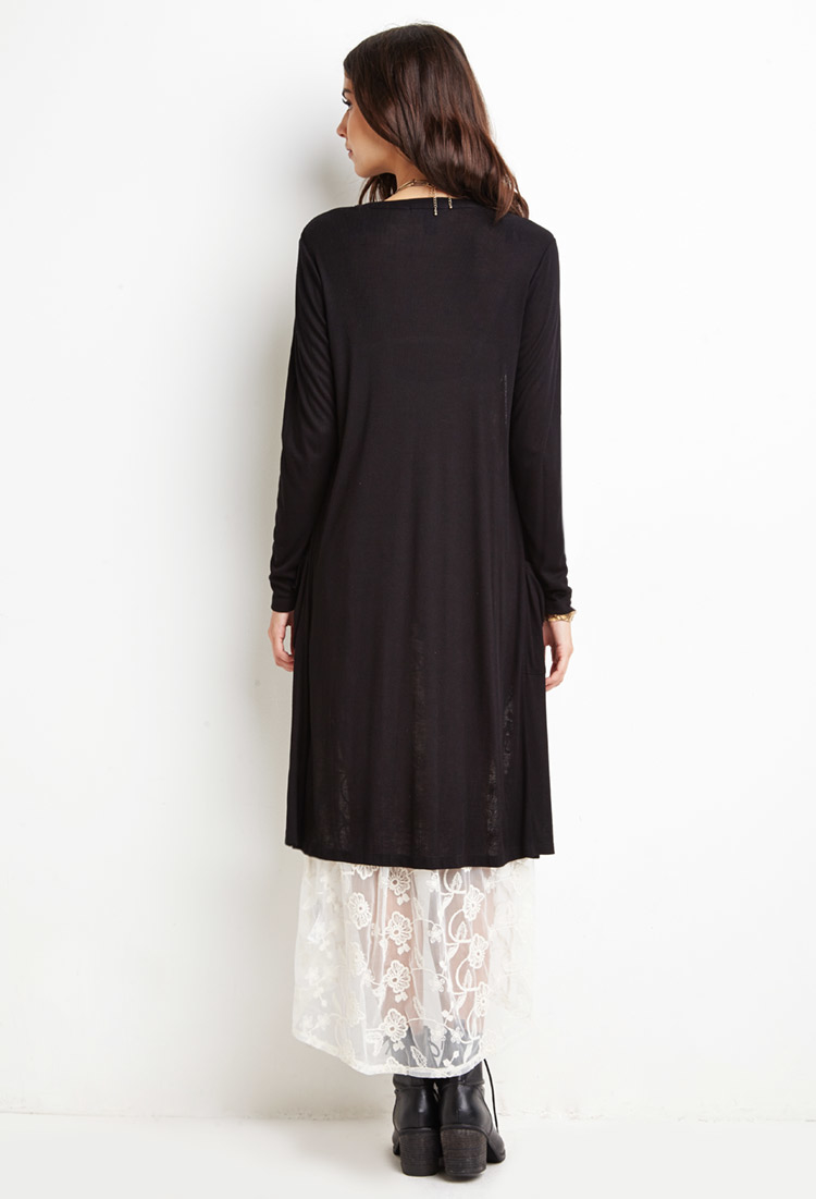 Forever 21 Ribbed Knit Longline Cardigan in Black   Lyst
