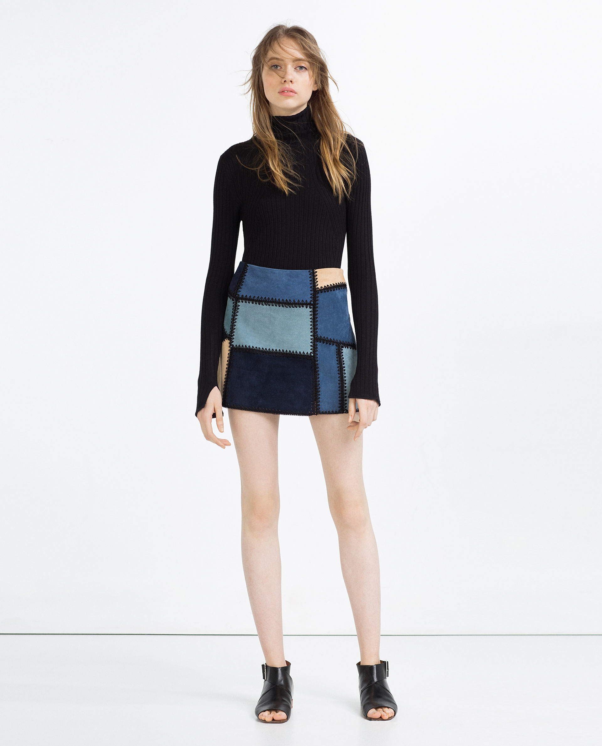 zara leather patchwork mini skirt in blue lyst