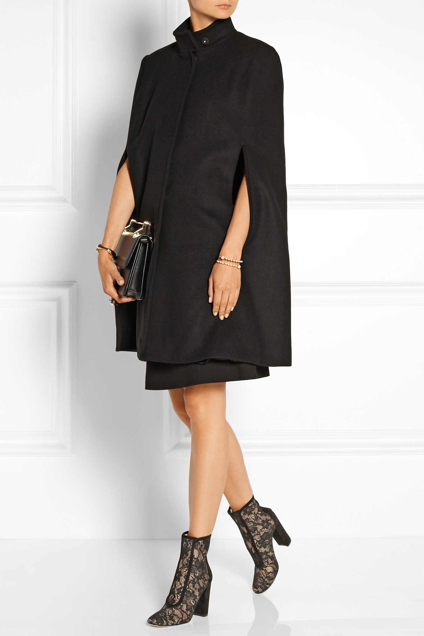 Gianvito Rossi Suede-trimmed Chantilly Lace Ankle Boots in Black