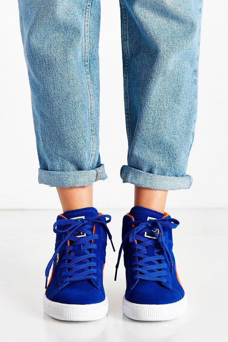 44ca9fd7523c33 Lyst - PUMA Suede Classic Mid Jr Sneaker in Blue