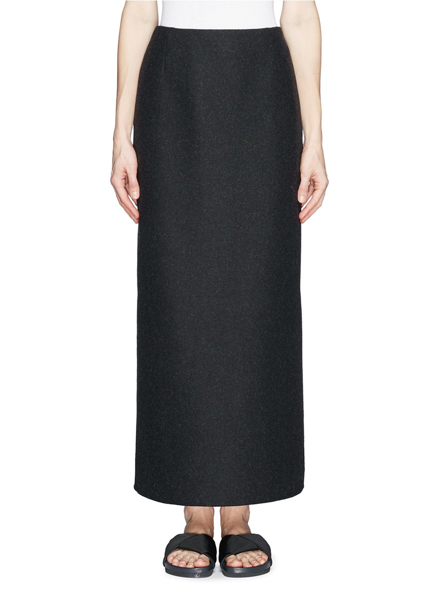 the row neela wool maxi skirt in black lyst
