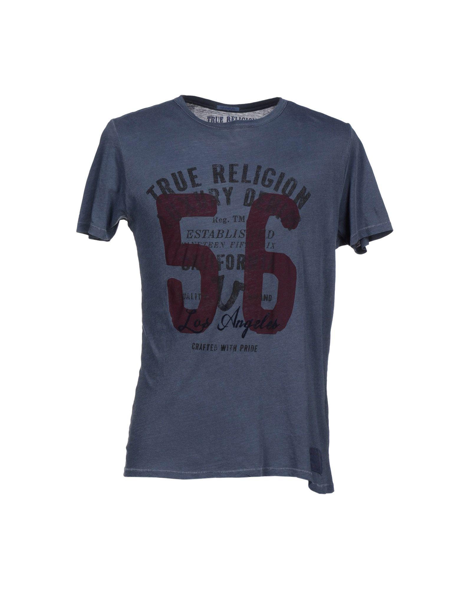 true religion t shirt in blue for men slate blue lyst. Black Bedroom Furniture Sets. Home Design Ideas