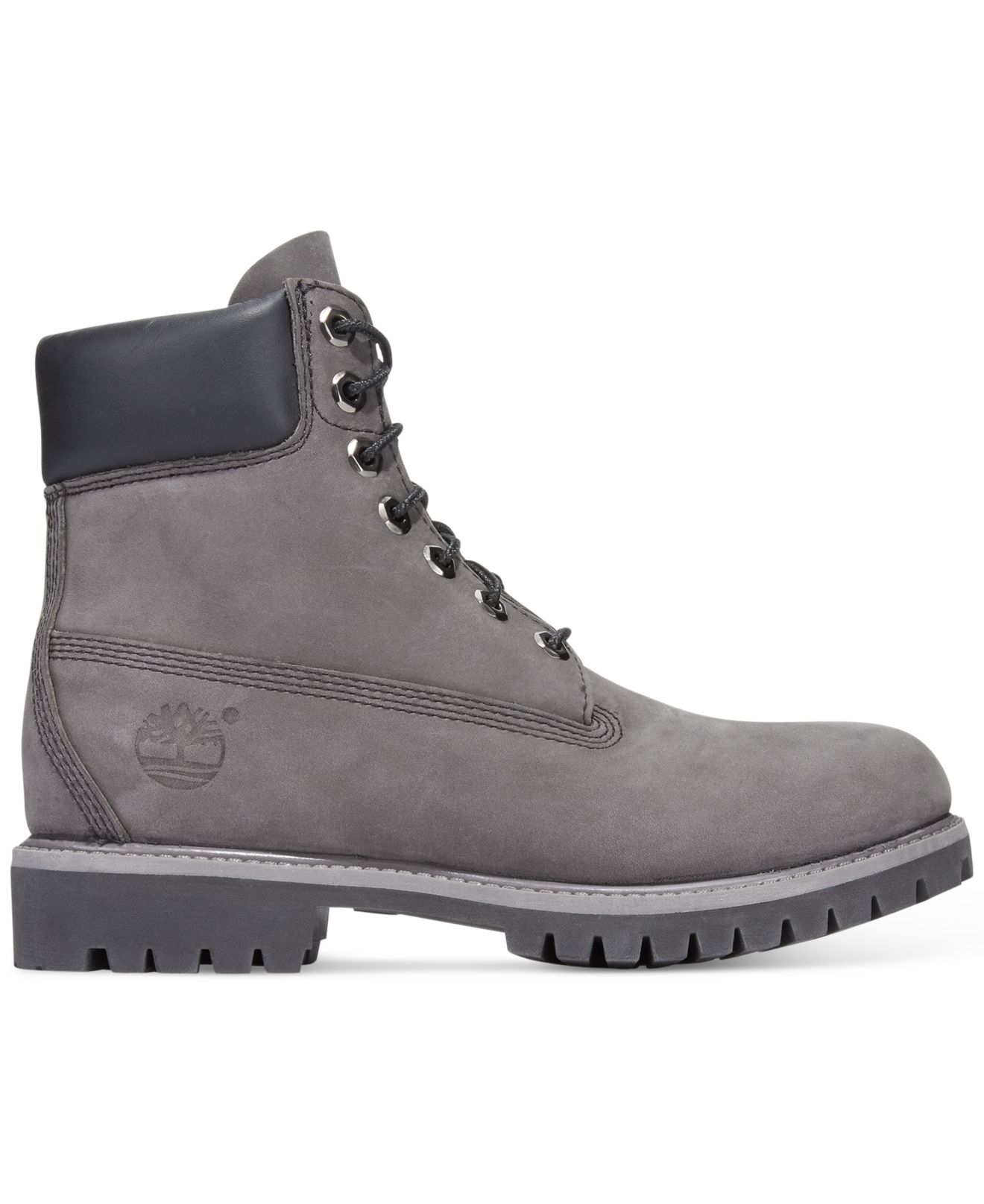 gray and black timberlands