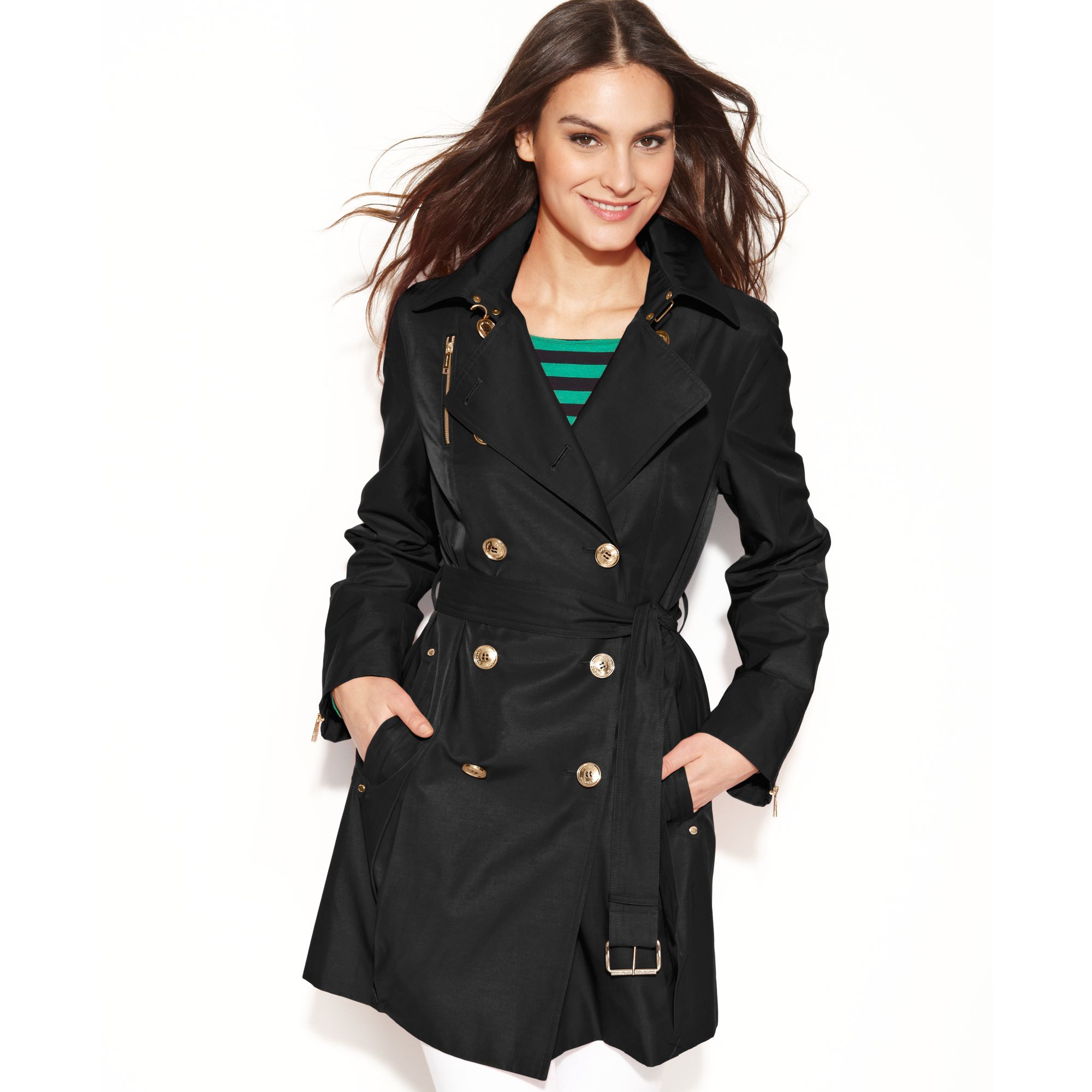 1633811b769 Lyst - Michael Kors Double Breasted Belted Trench Coat in Black