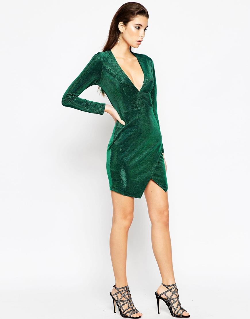 Lyst Asos Night Metallic Wrap Plunge Mini Bodycon Dress
