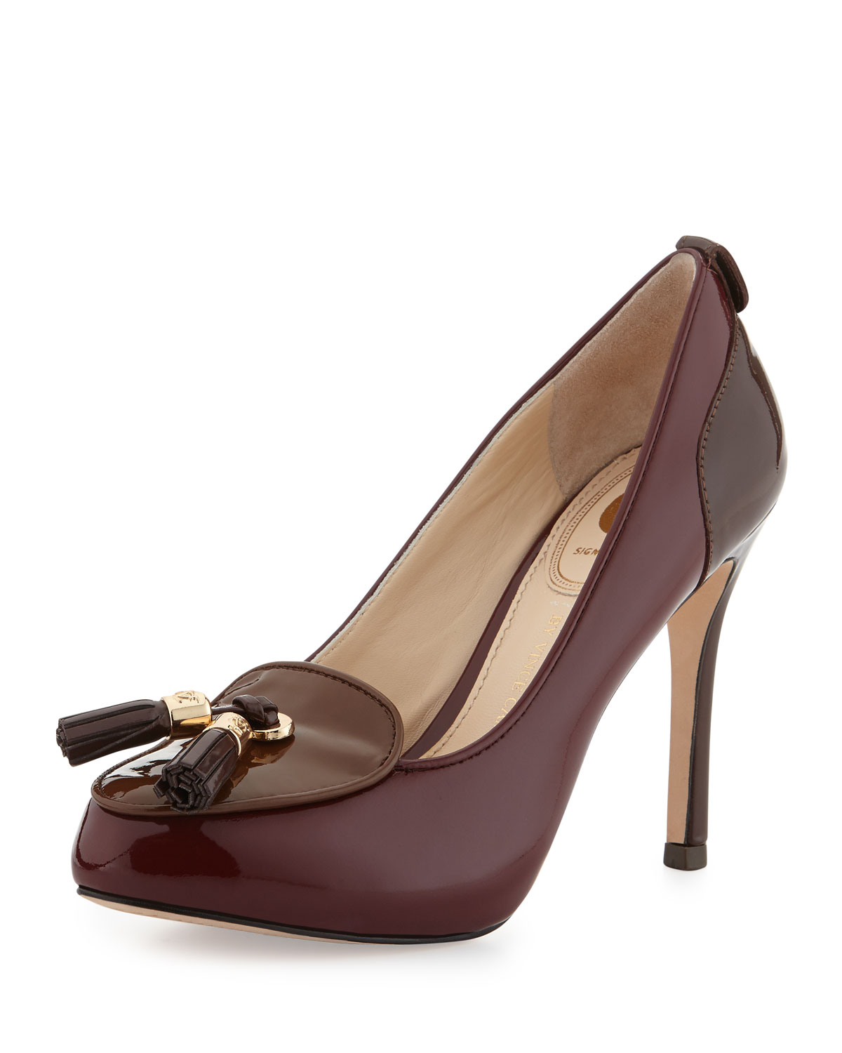 vince camuto signature pandory patent tassel pumps in