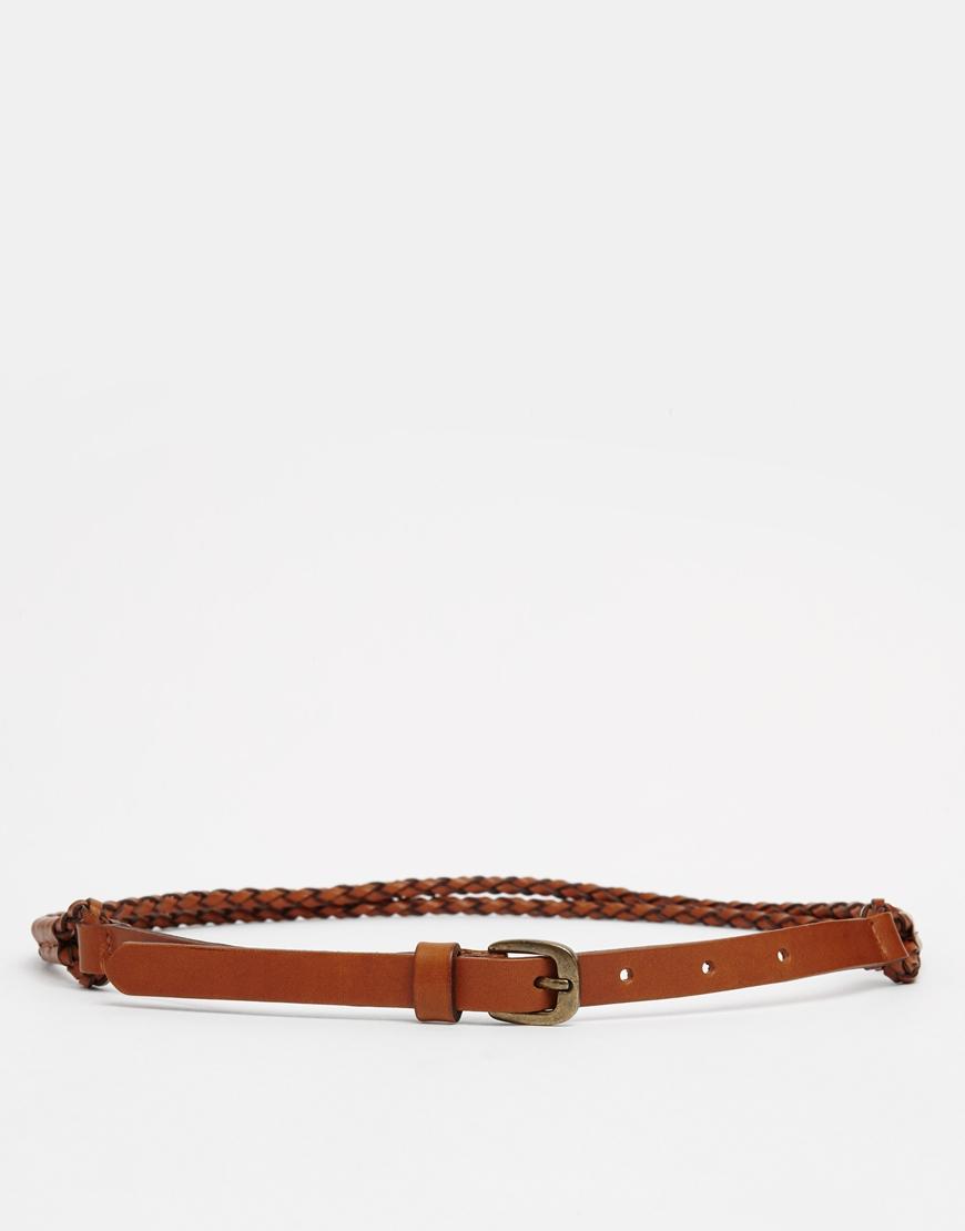 pieces telia plaited waist belt in brown lyst