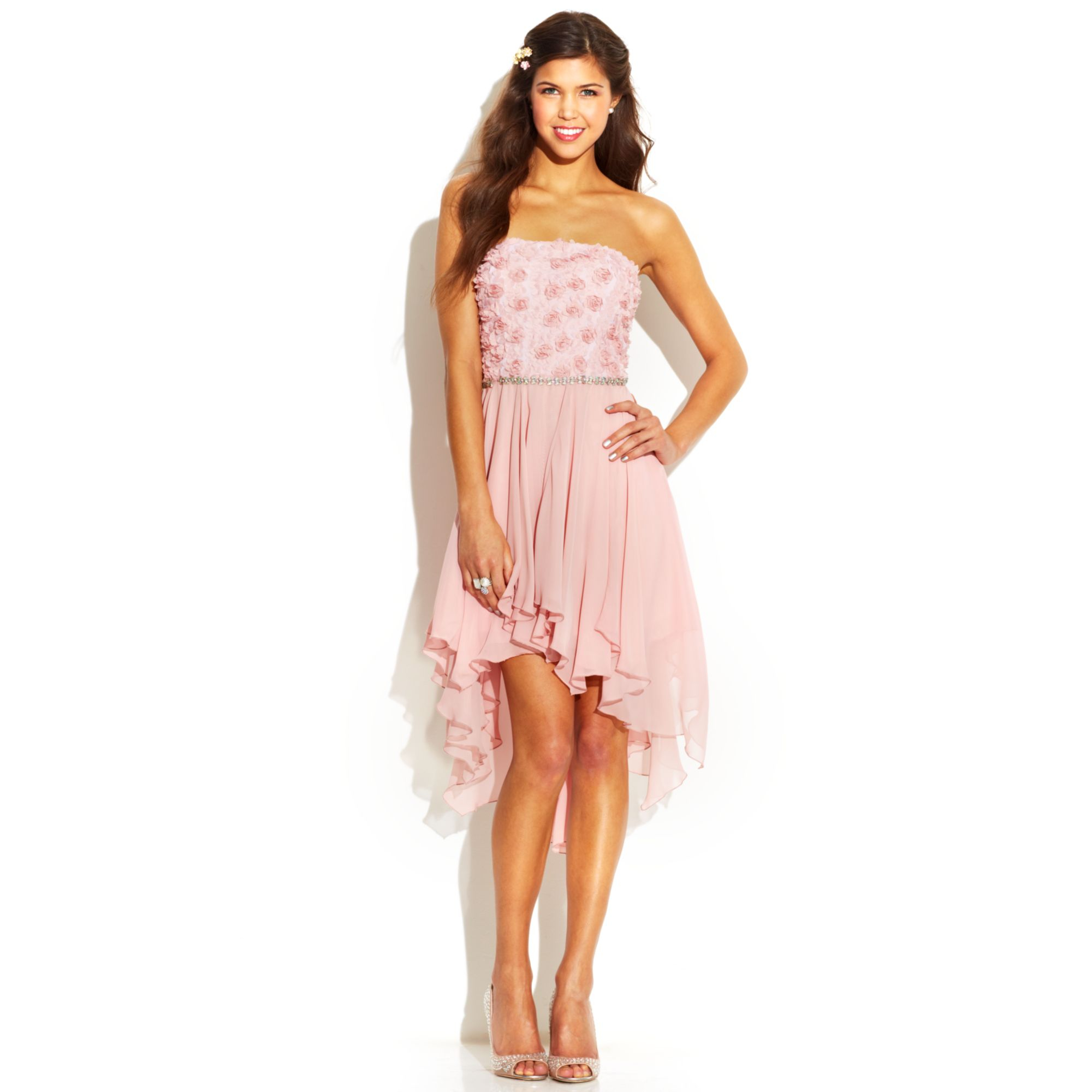 acc453983d Lyst - As U Wish Juniors Strapless Rosette Highlow Dress in Pink