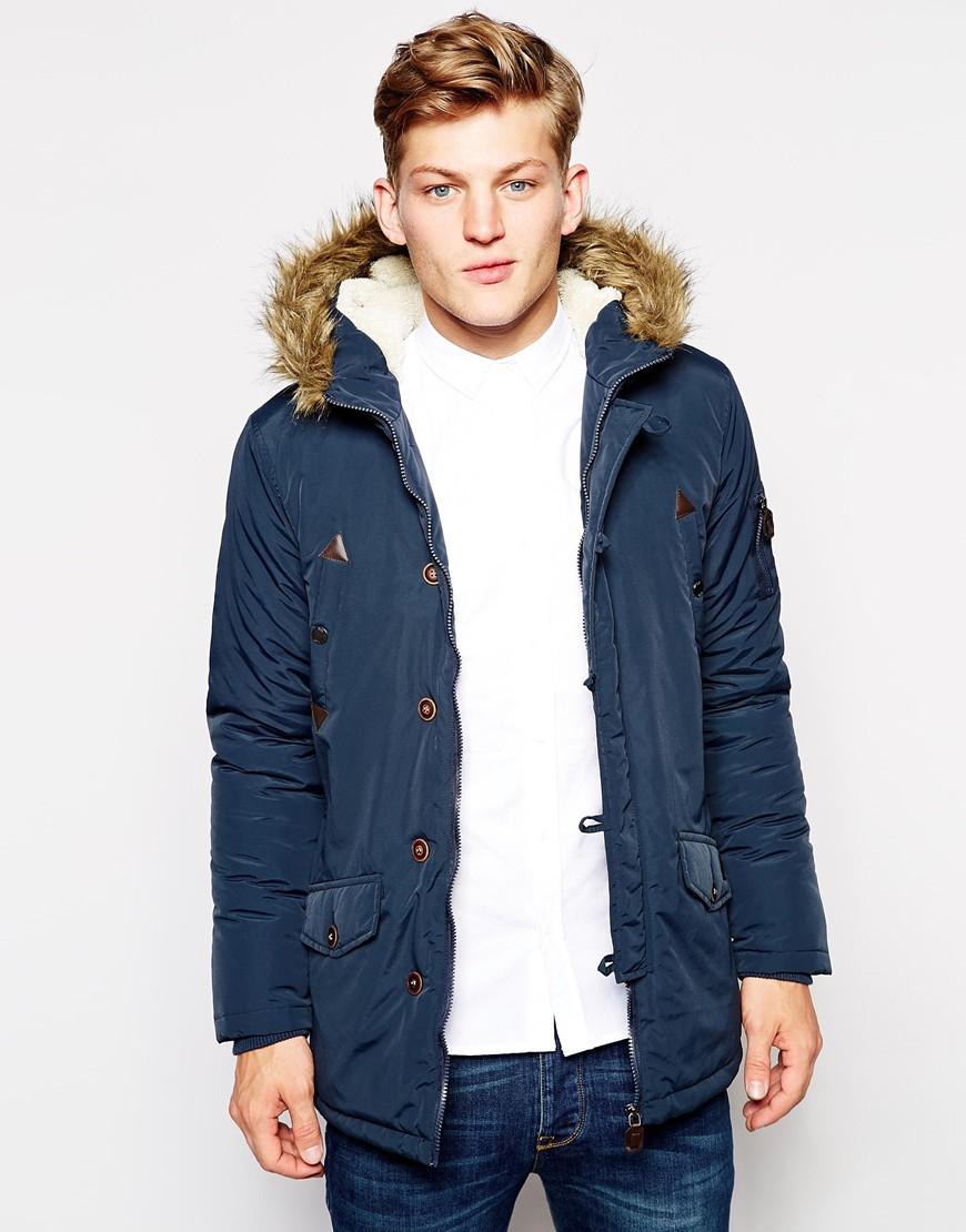 Navy Parka Coat With Fur Hood