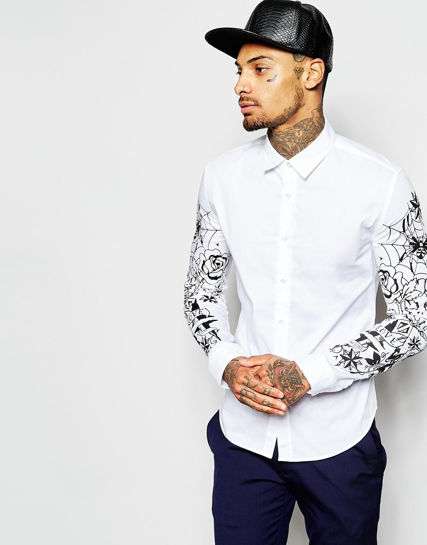 Love Sleeve Tattoo: Love Moschino Shirt With Tattoo Sleeve Print In White For