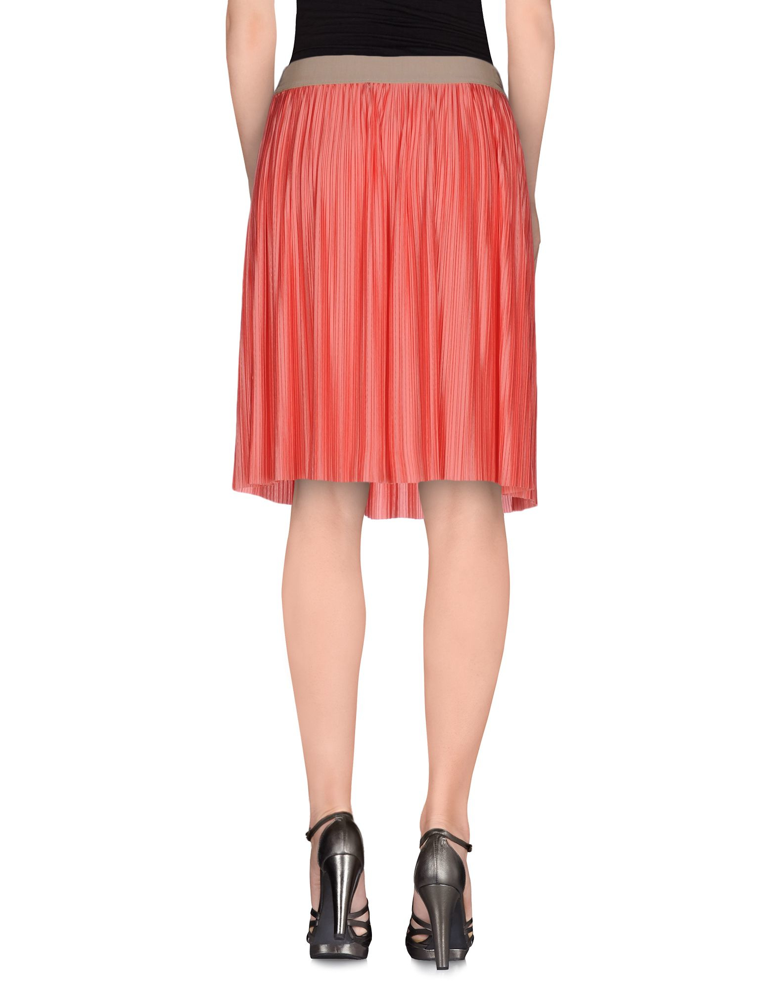 moschino knee length skirt in pink coral lyst