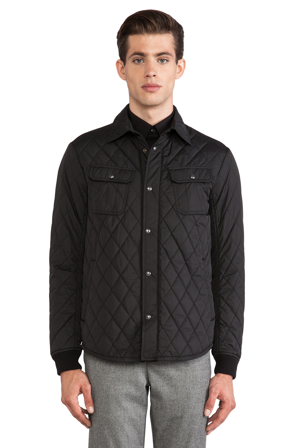 Vince Quilted Cpo Jacket In Black For Men Lyst