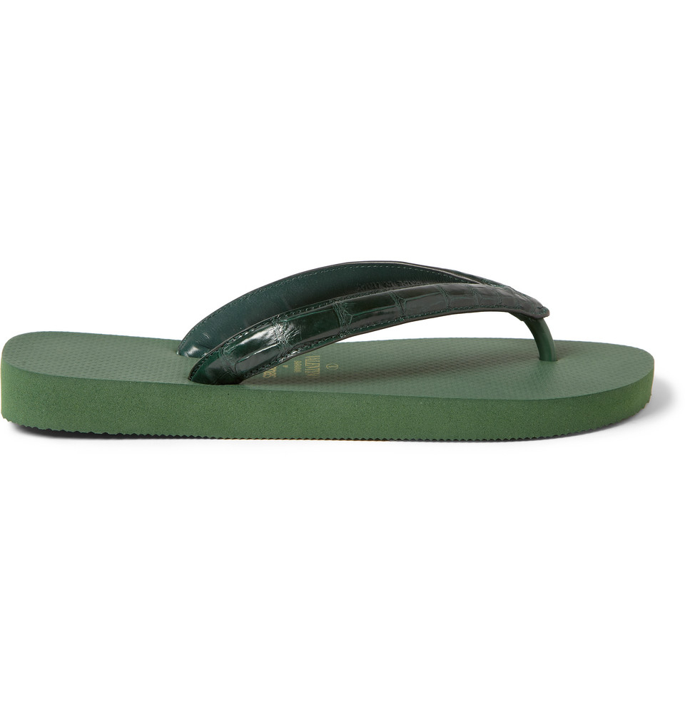 valentino havaianas alligator and rubber flip flops in green for men lyst. Black Bedroom Furniture Sets. Home Design Ideas