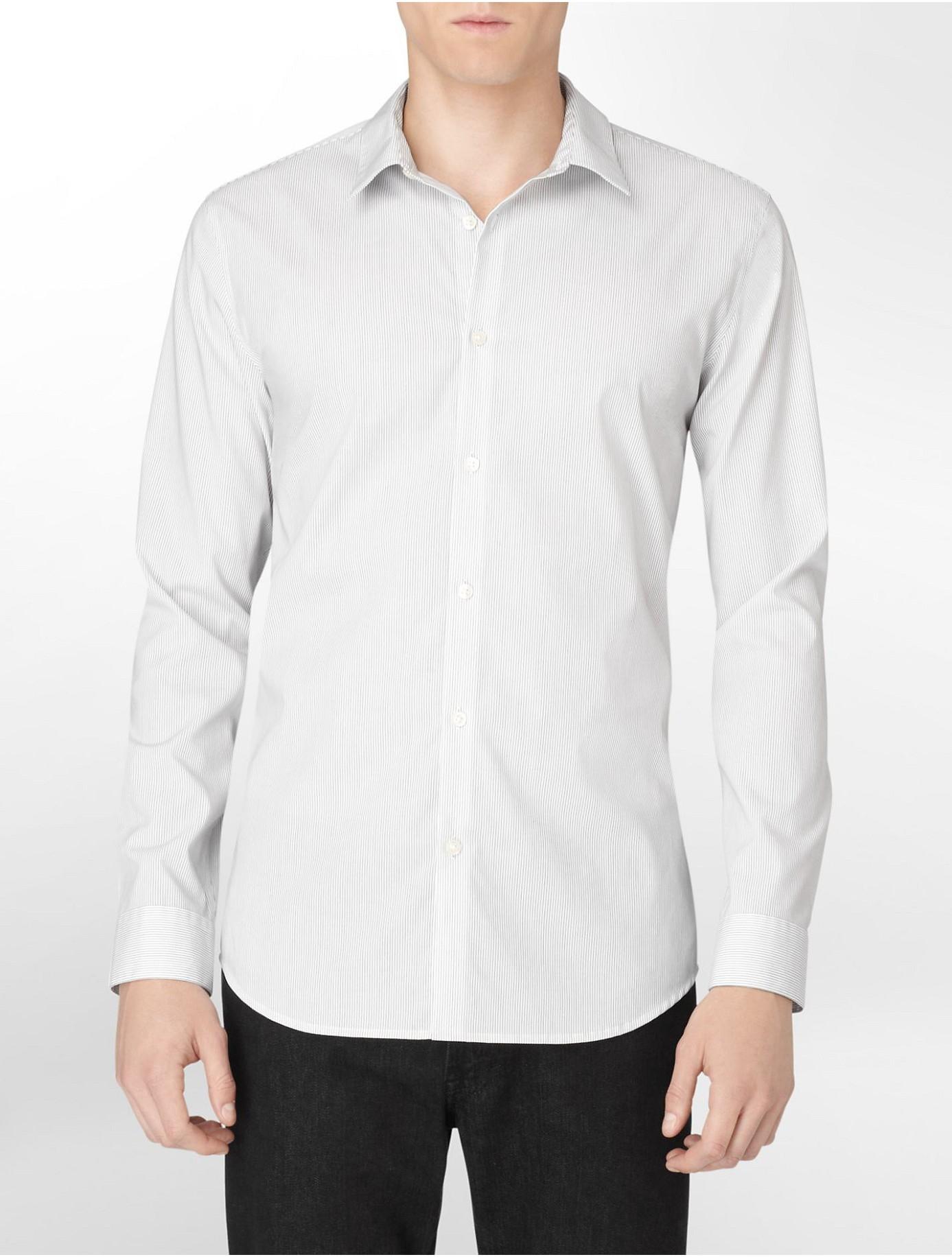 Calvin klein white label body slim fit non iron banker for Slim fit non iron shirts