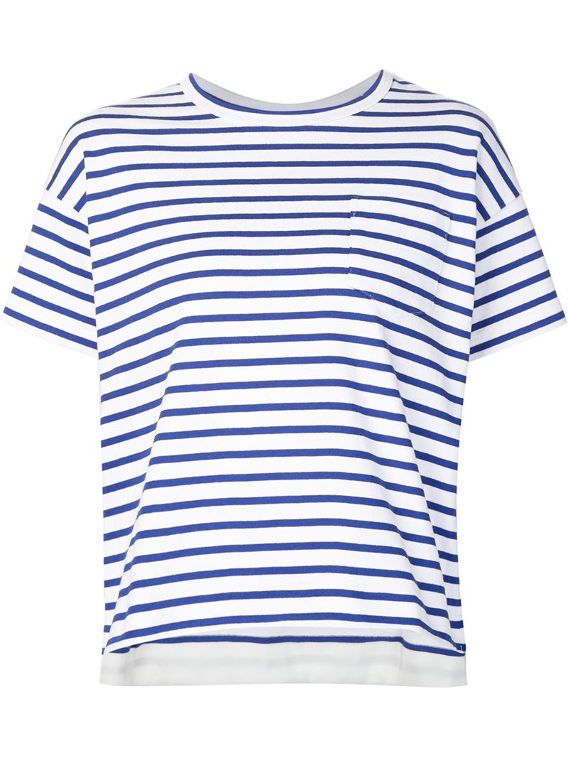 Sacai Striped T-shirt in Blue