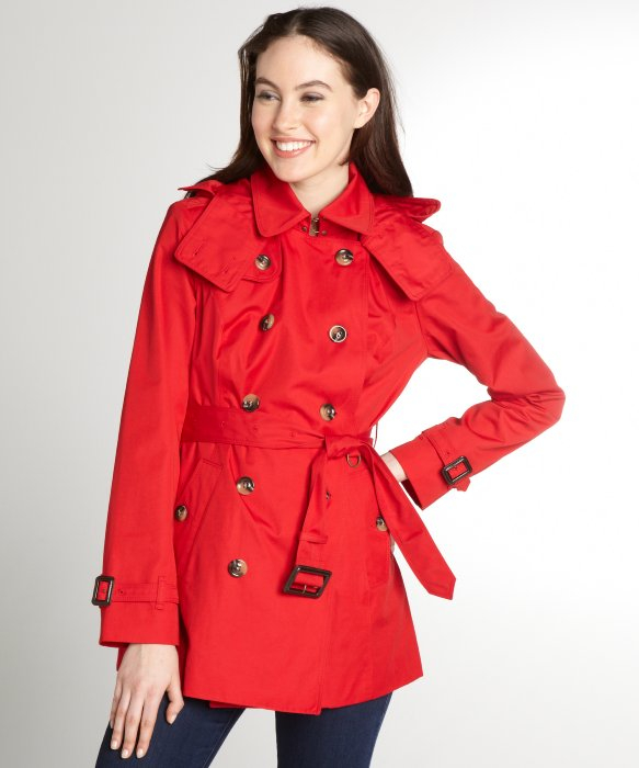 London fog Red Cotton Blend Double Breasted Hooded Trench Coat in ...