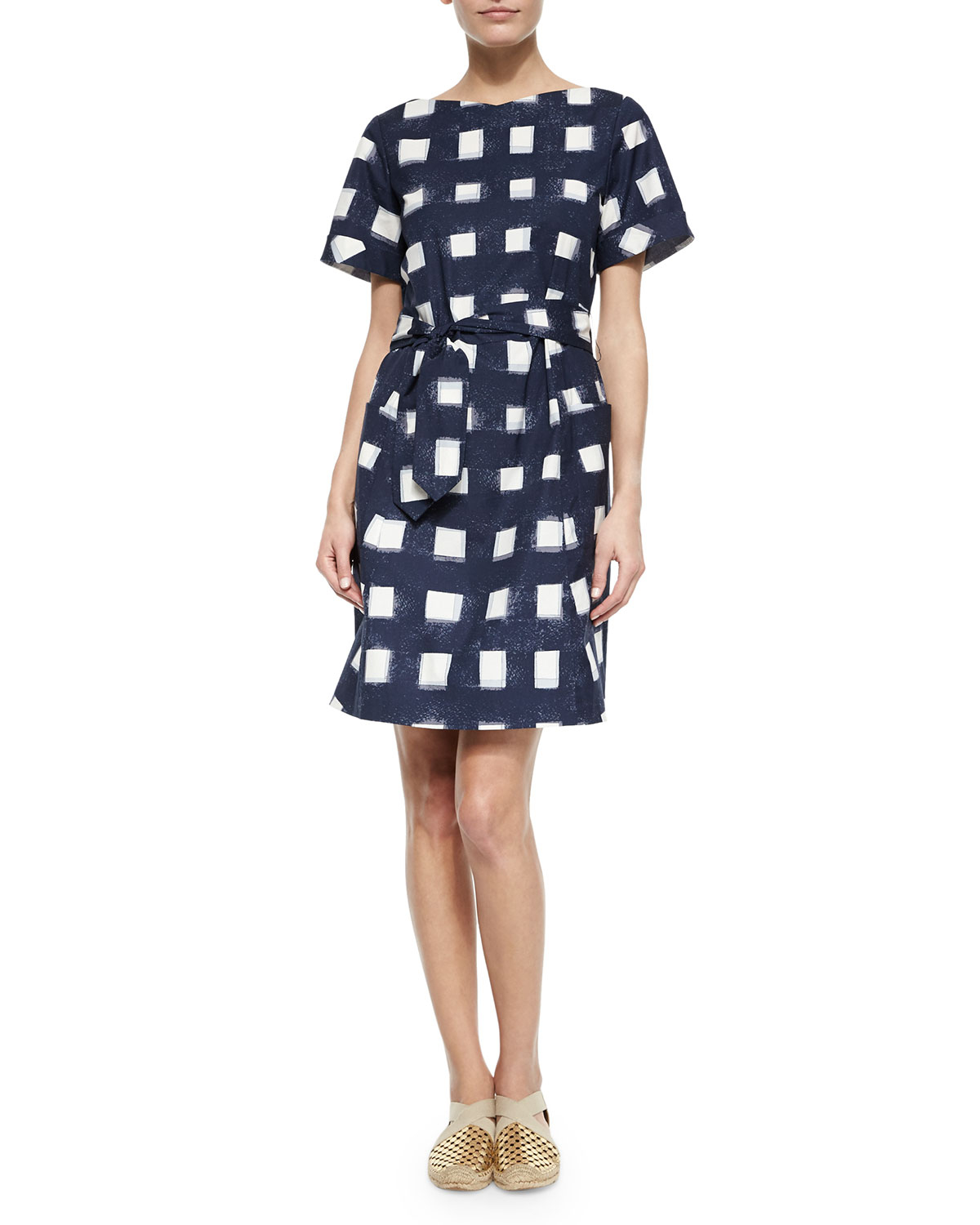 Tory burch tie front poplin square dress in black lyst for Tory burch fashion island