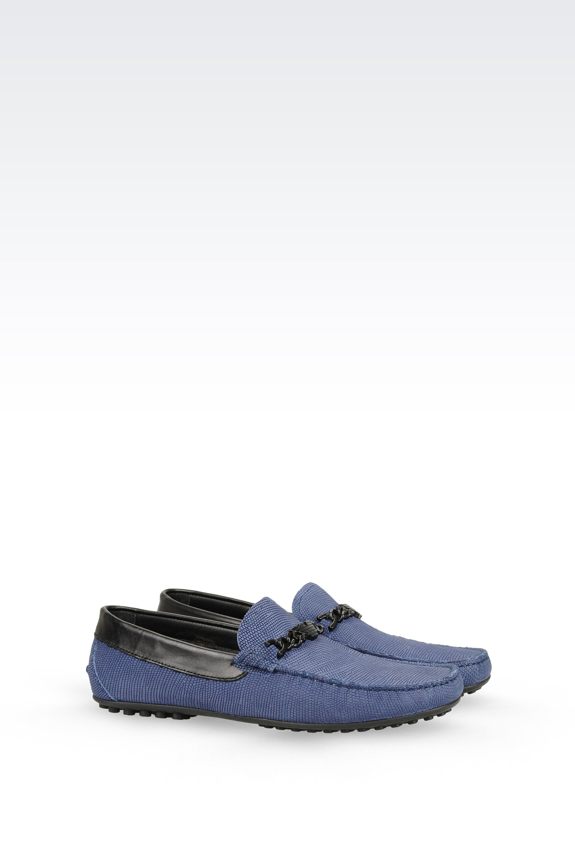 emporio armani driving shoe in calfskin in blue for lyst