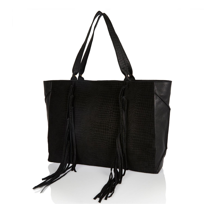 River island Black Suede Tassel Side Tote Handbag in Black | Lyst