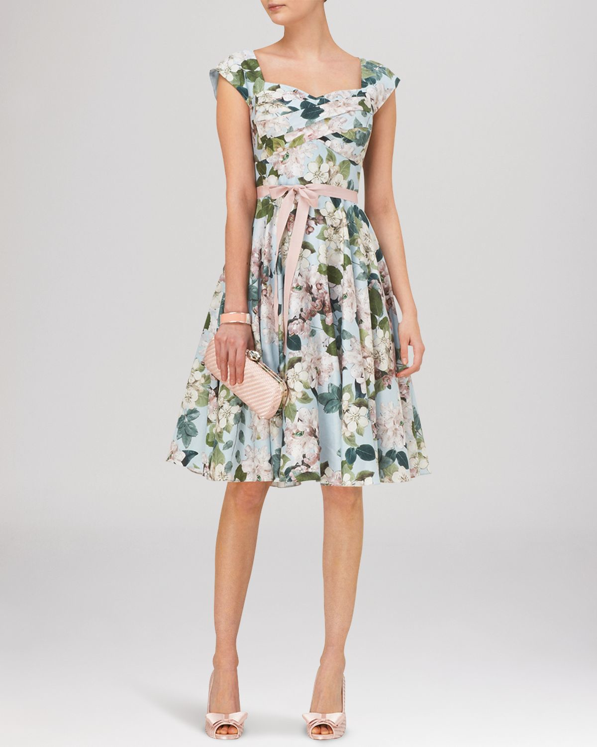 Phase Eight Blue Adele Blossom Print Fit And Flare Dress