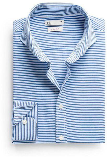 Mango slimfit horizontal striped shirt in blue for men for Horizontal striped dress shirts men