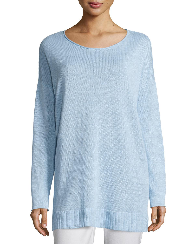 Eileen fisher Organic Linen Fine-gauge Tunic in Blue