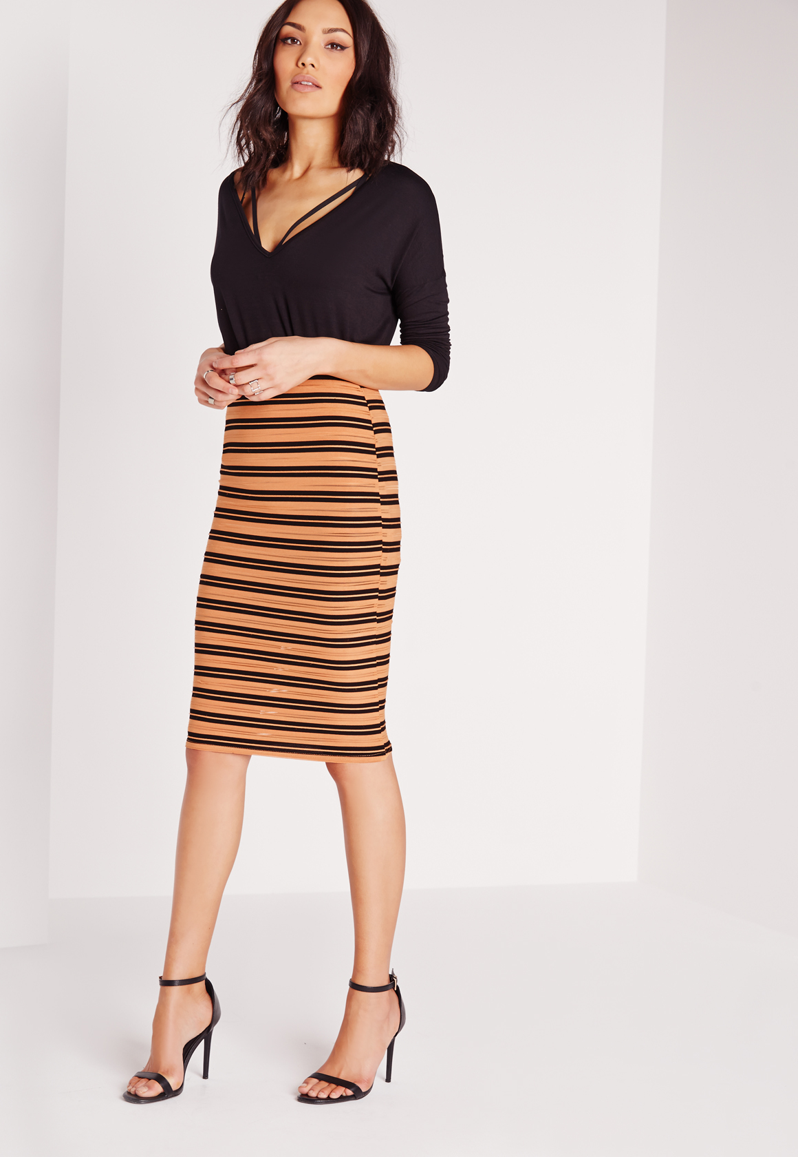 missguided burnout stripe midi skirt mustard in lyst