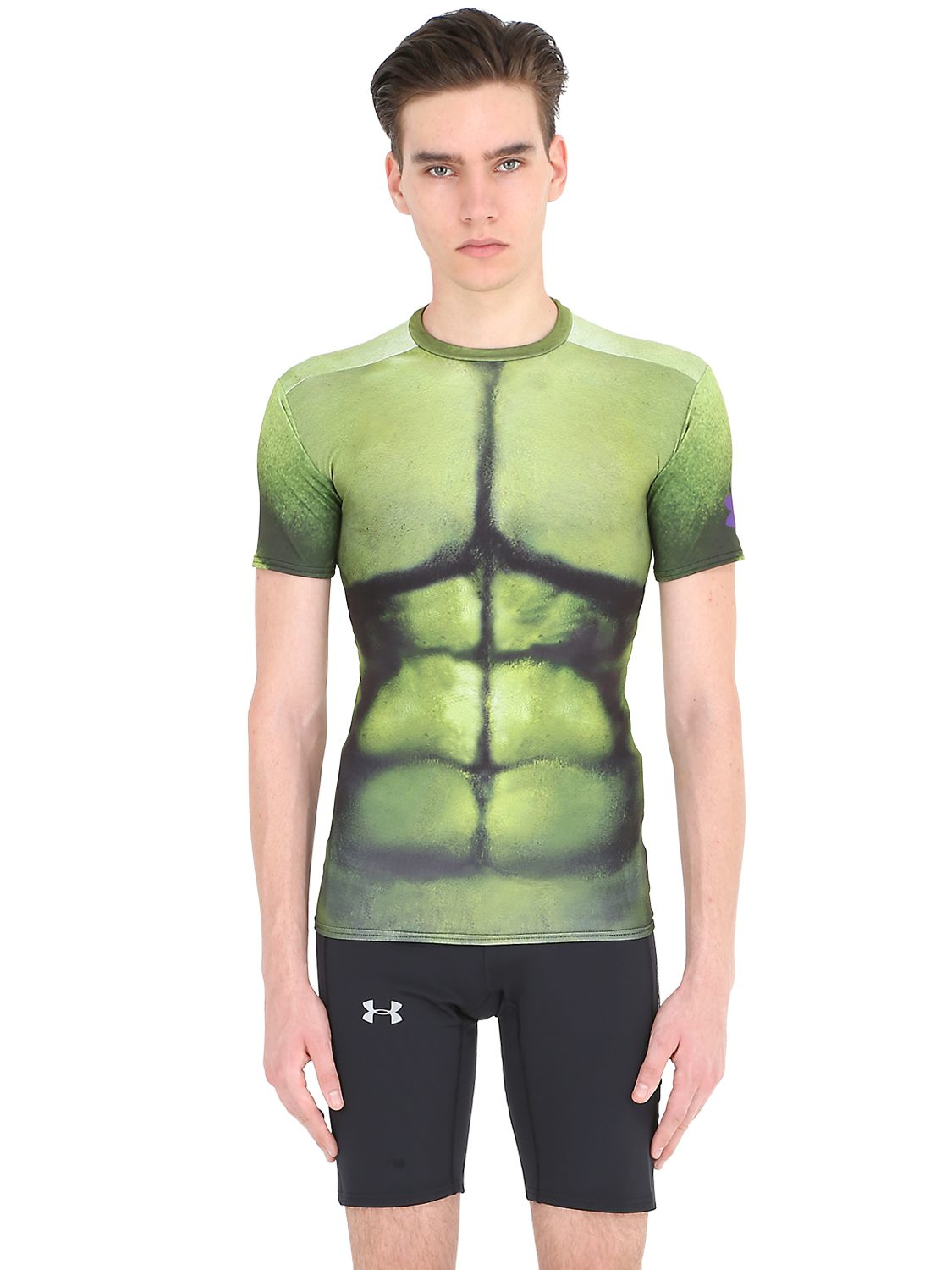 Under armour hulk compression base layer t shirt in green for Hulk under armour compression shirt