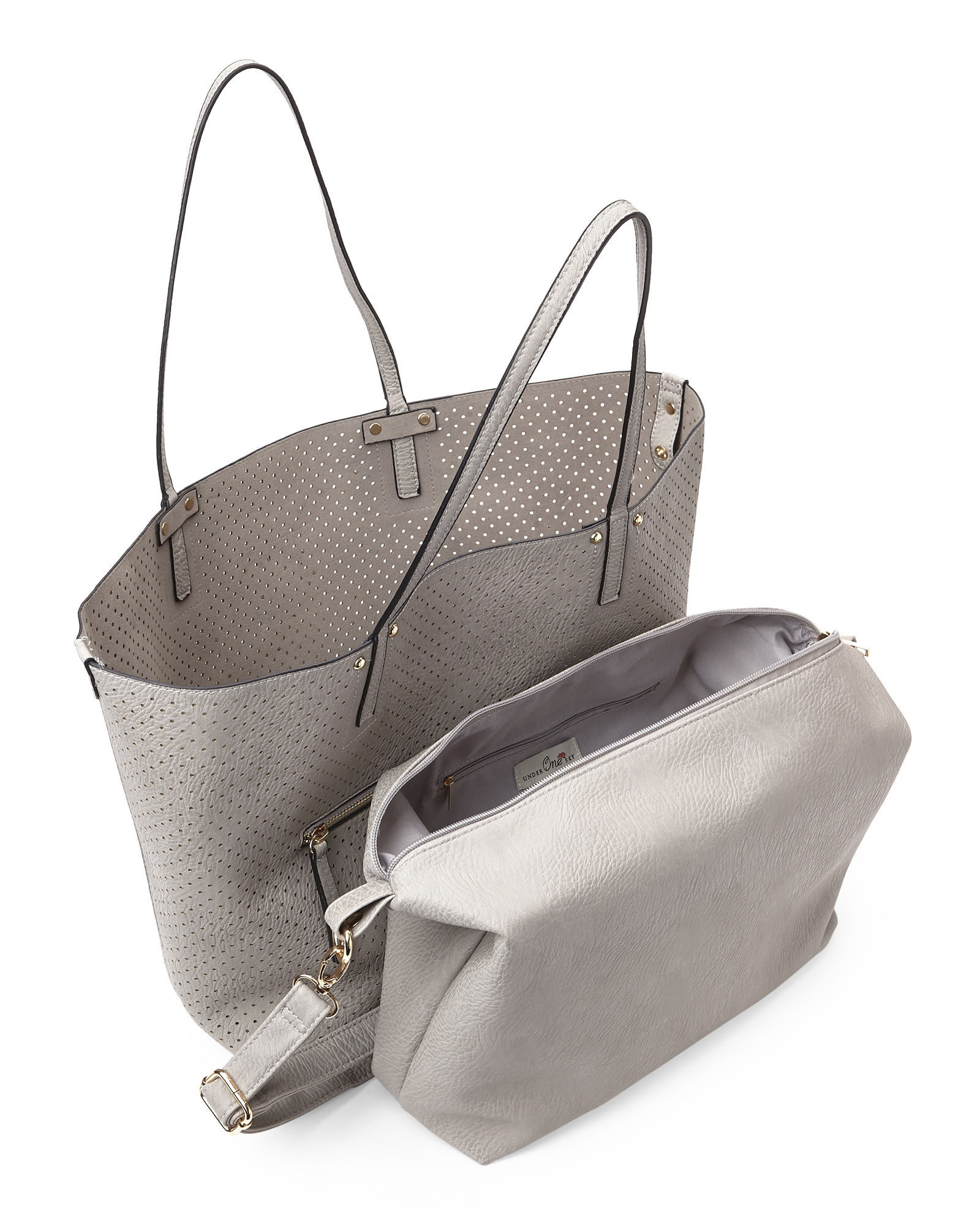 Under one sky Grey Perforated Bag-In-Bag Tote in Gray | Lyst