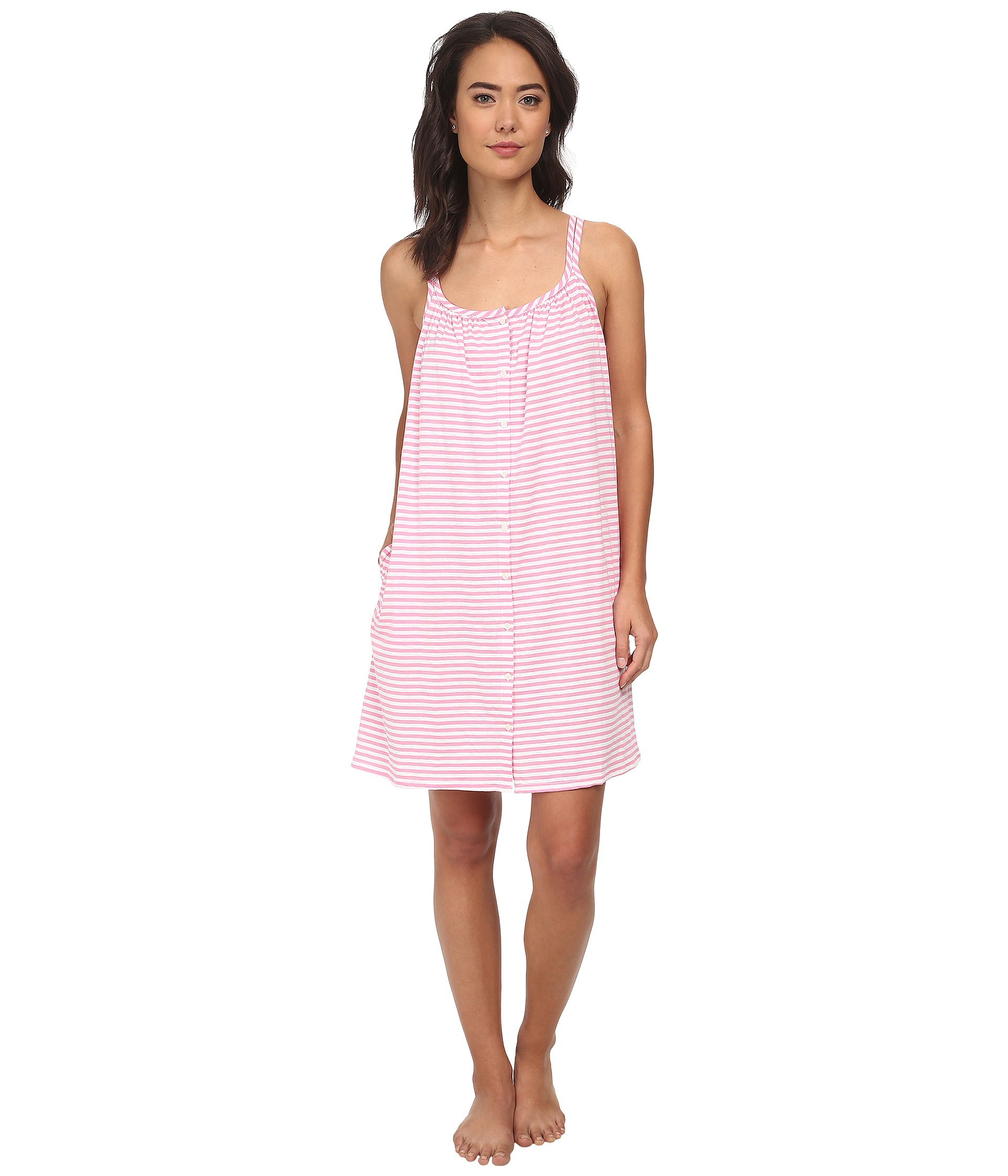 lyst lauren by ralph lauren sleeveless striped chemise in pink. Black Bedroom Furniture Sets. Home Design Ideas