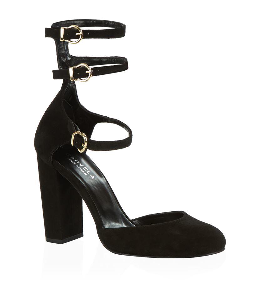 ab6bb004d21 Carvela Kurt Geiger Alicia Triple Strap Block Heel Shoe in Black - Lyst