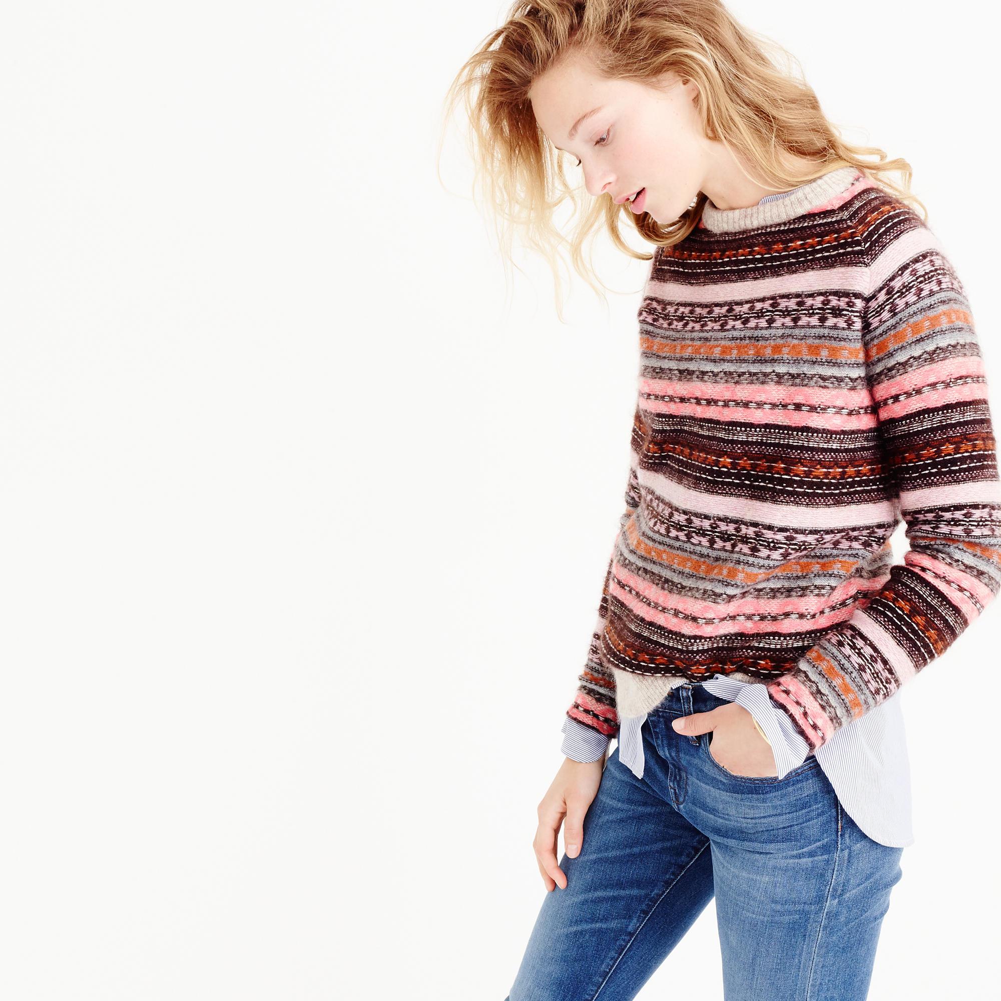 J.crew Italian Cashmere-blend Fair Isle Sweater | Lyst
