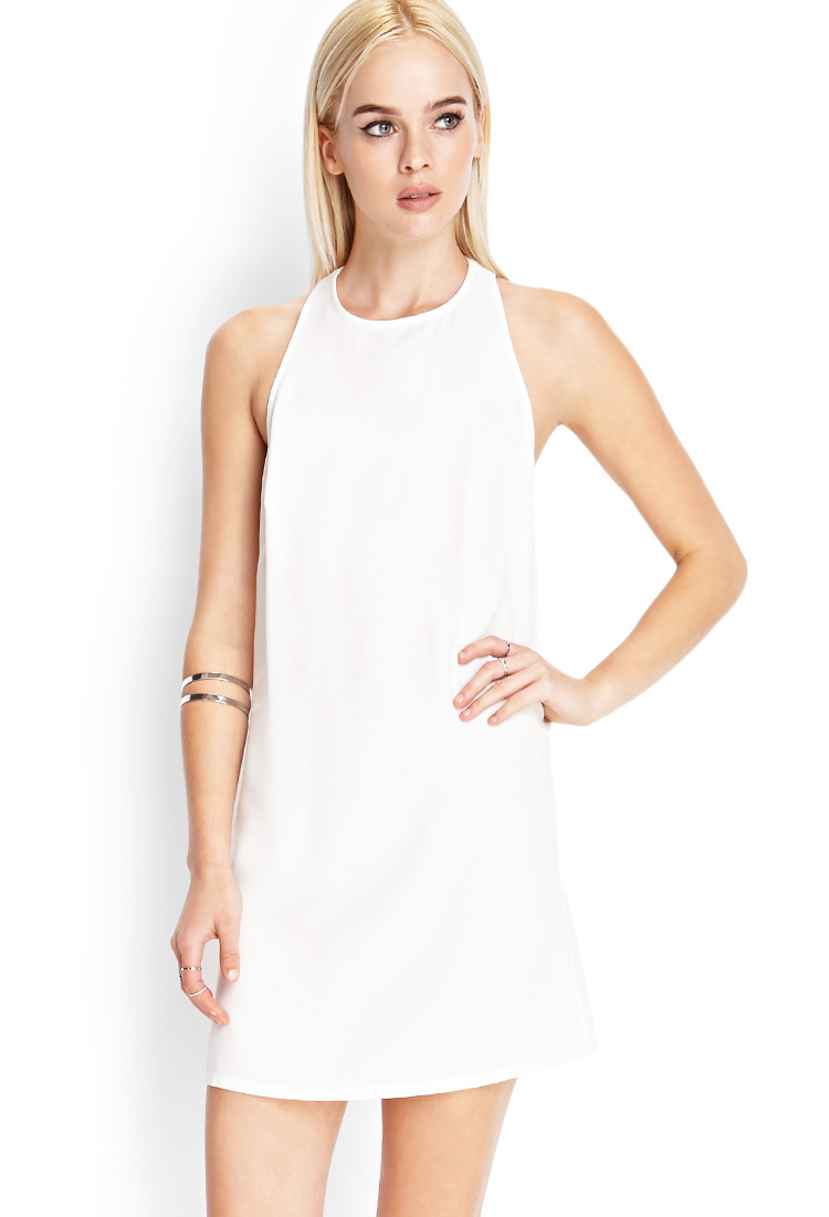Lyst - Forever 21 Cutout Back Shift Dress in White - photo #10