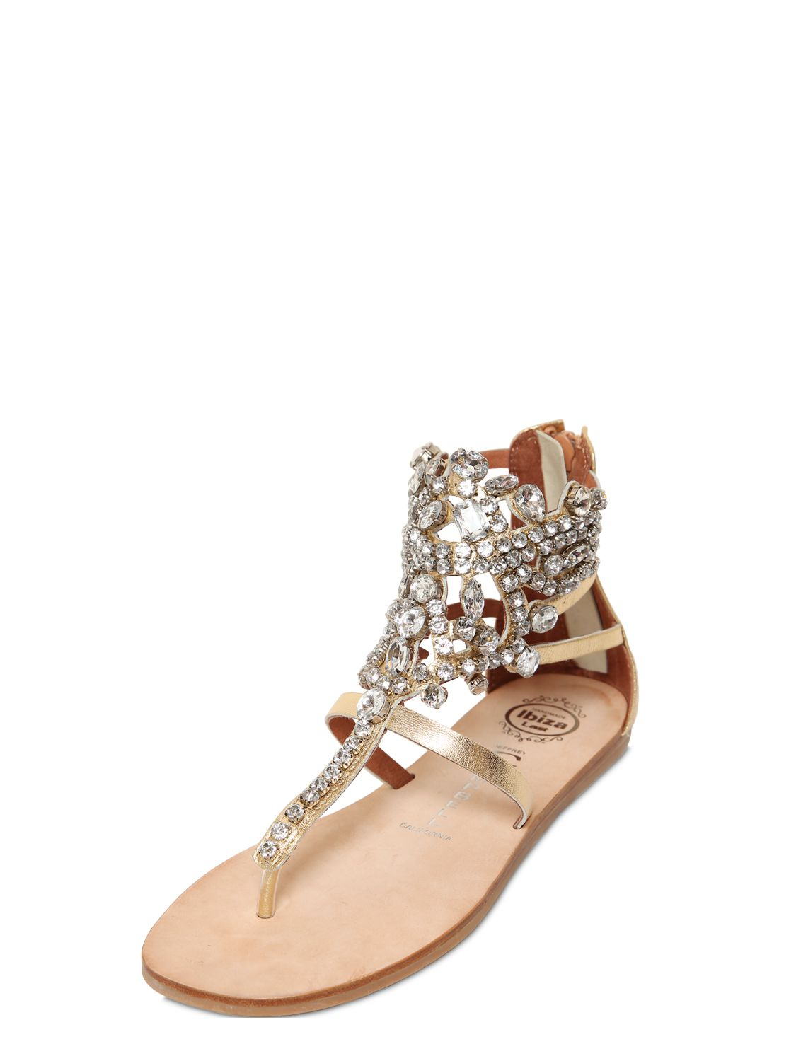 Jeffrey Campbell 10mm Jeweled Faux Leather Sandals In