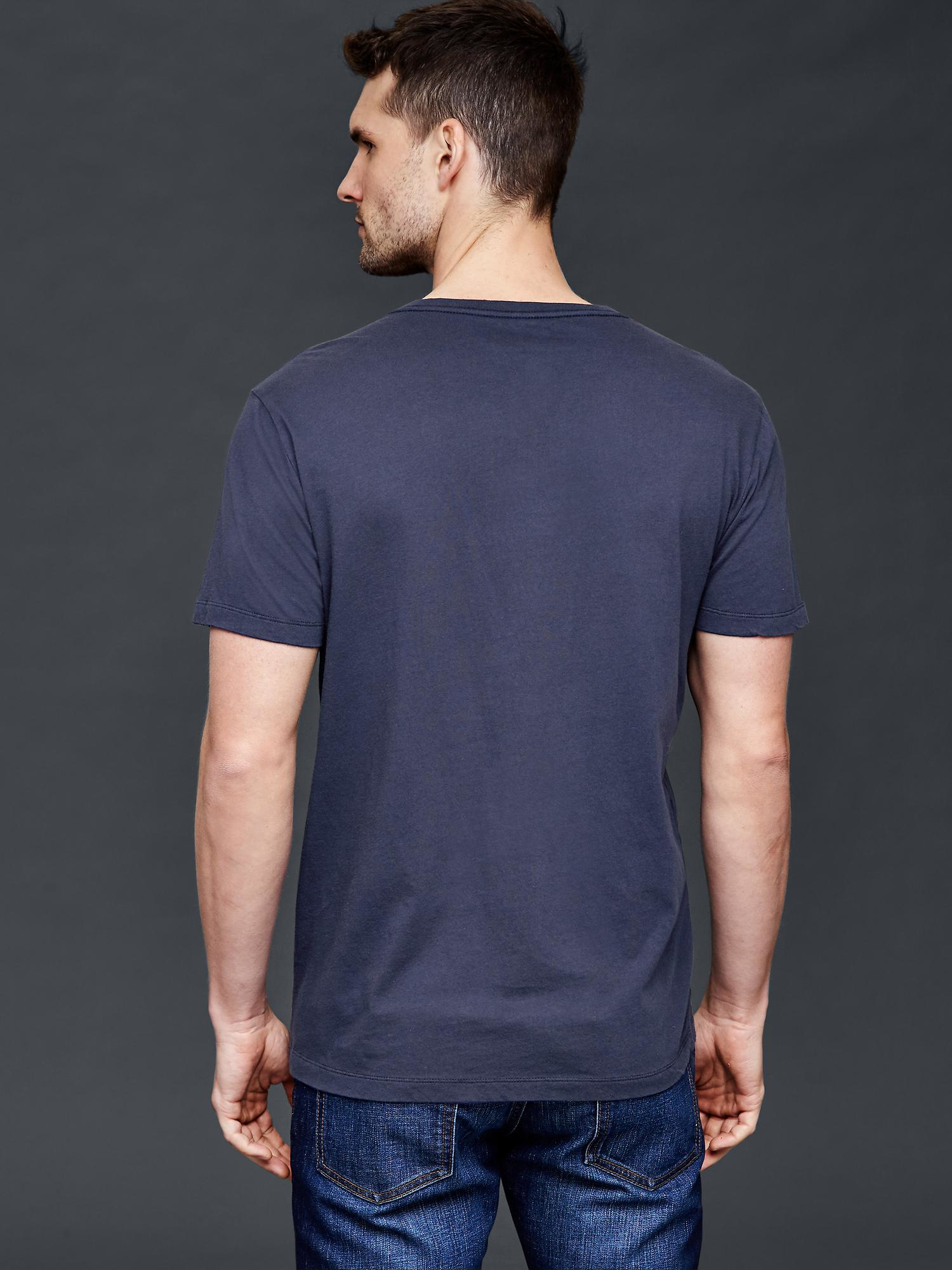 Gap Vintage Wash V Neck T Shirt In Blue For Men Dark
