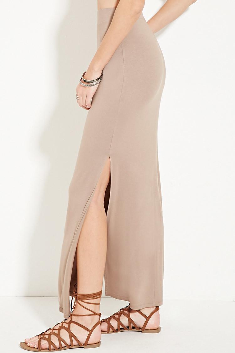 forever 21 side slit maxi skirt in brown lyst