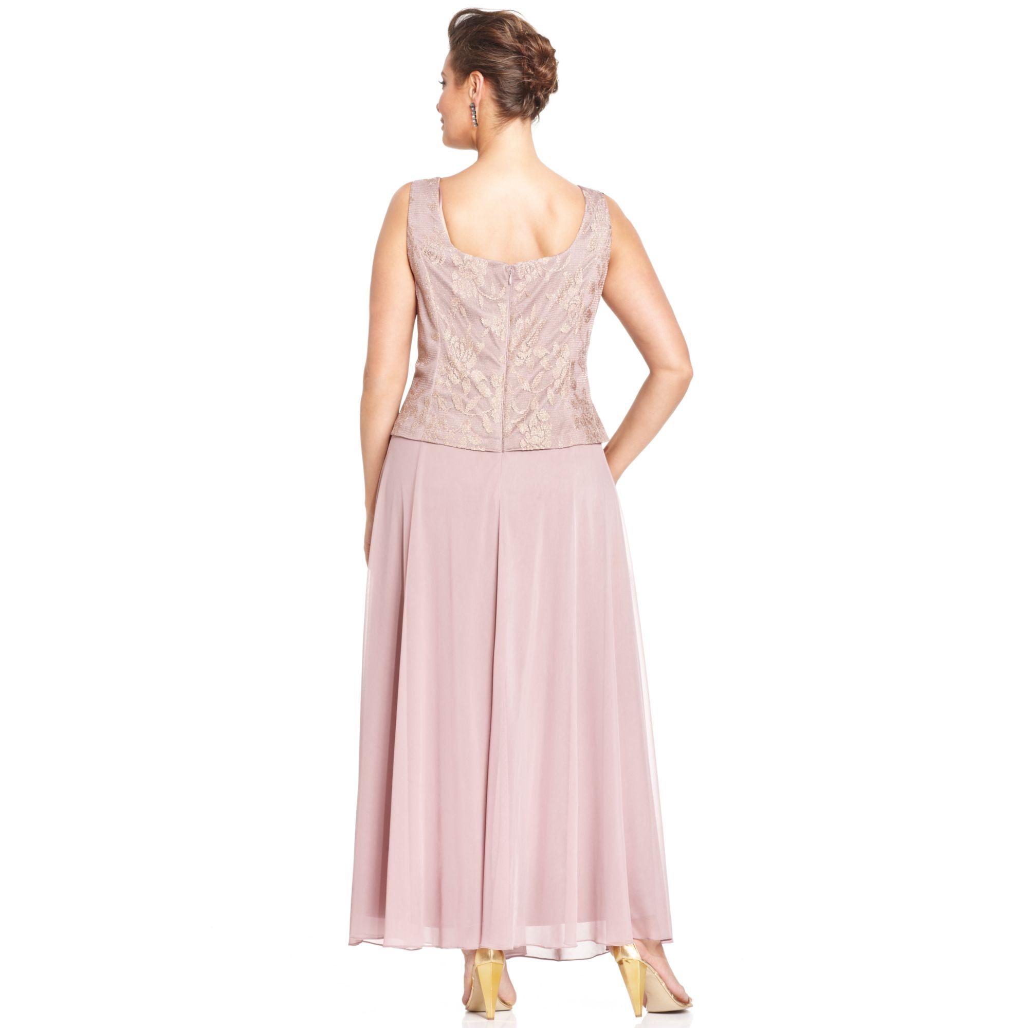 Lyst Patra Plus Size Metallic Lace Dress And Jacket In Metallic