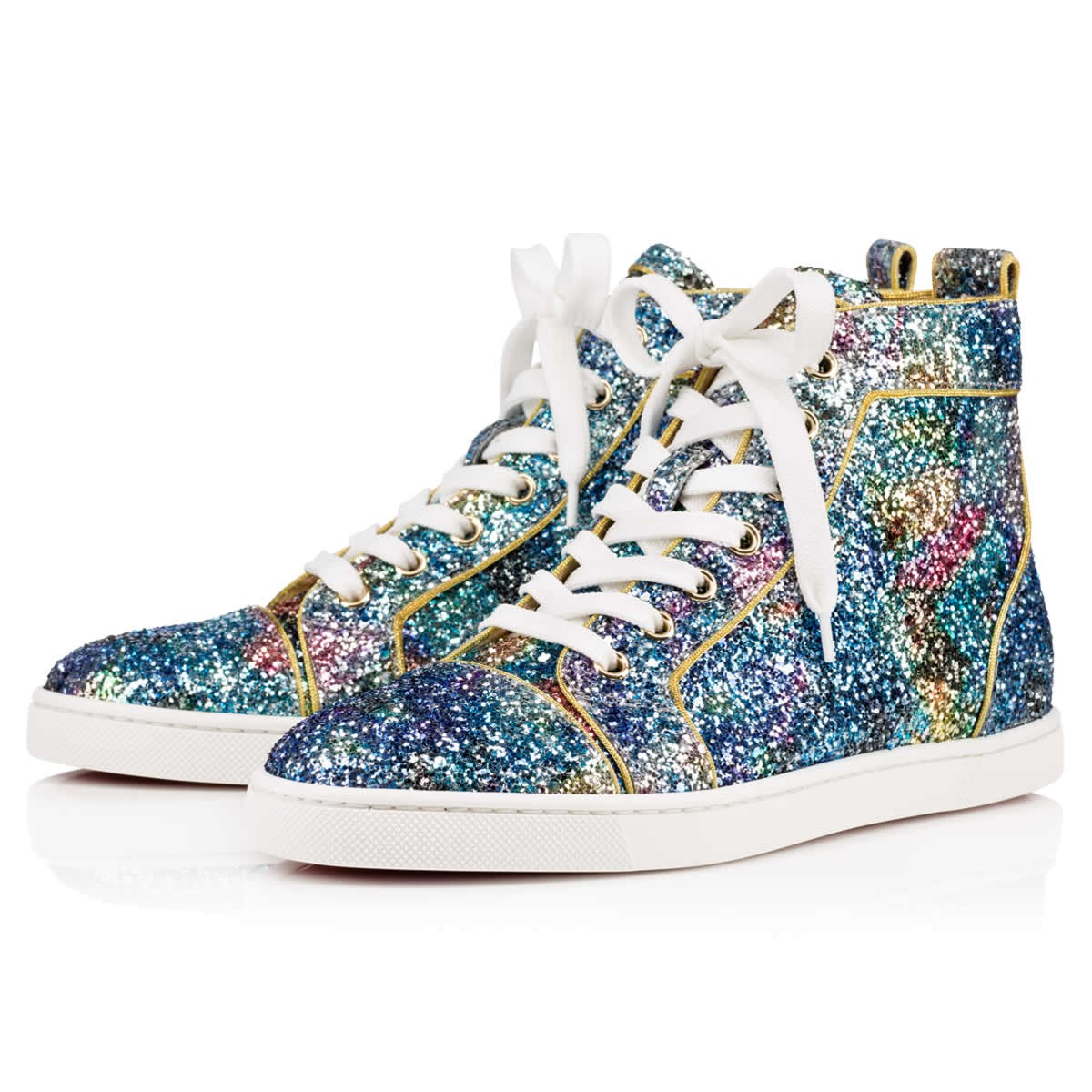 christian louboutin bip bip glitter high top sneakers