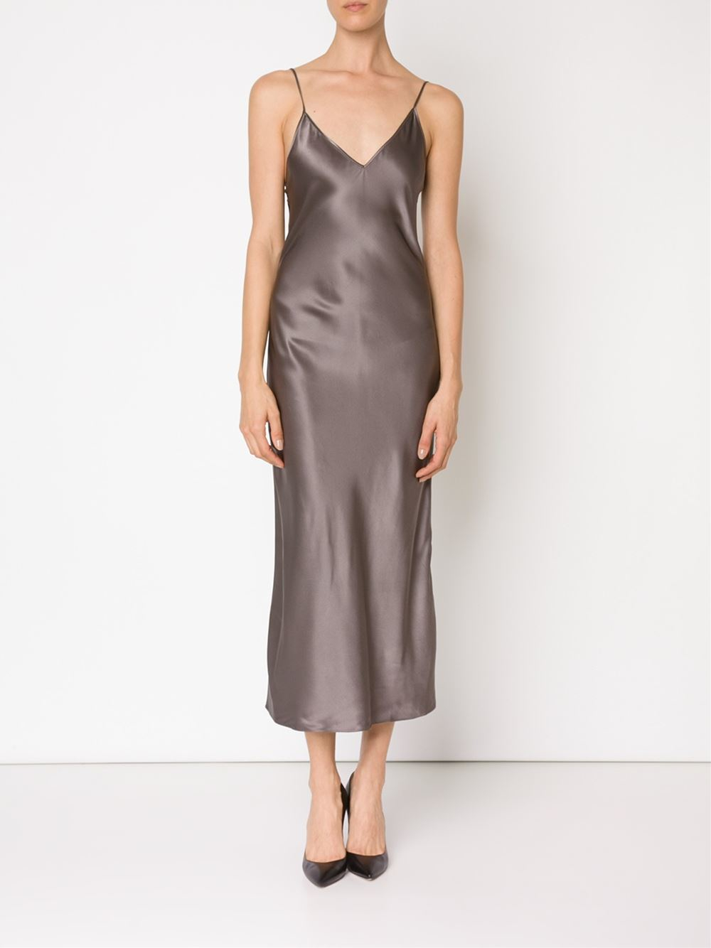 Protagonist Long Slip Dress in Gray  Lyst