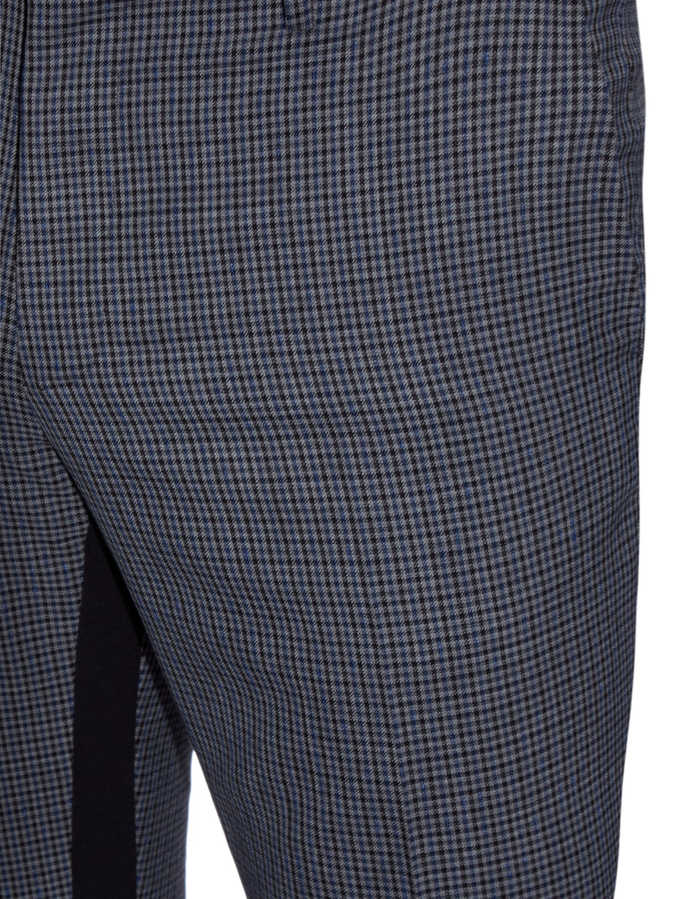 Lanvin Contrast-stripe Checked Wool Trousers in Grey for Men