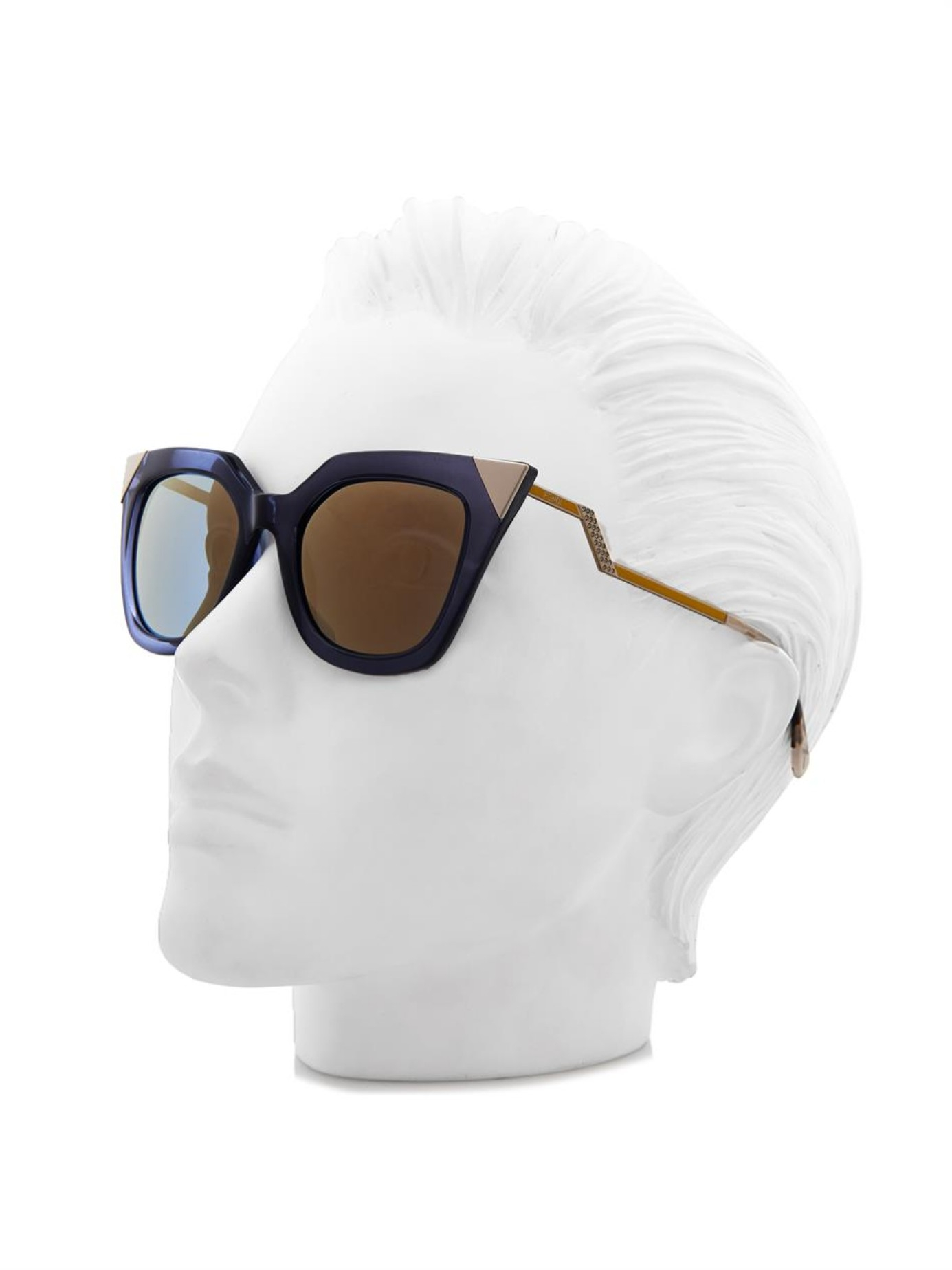 0efc00e0a0 Fendi Blue Iridia Cat-Eye Sunglasses