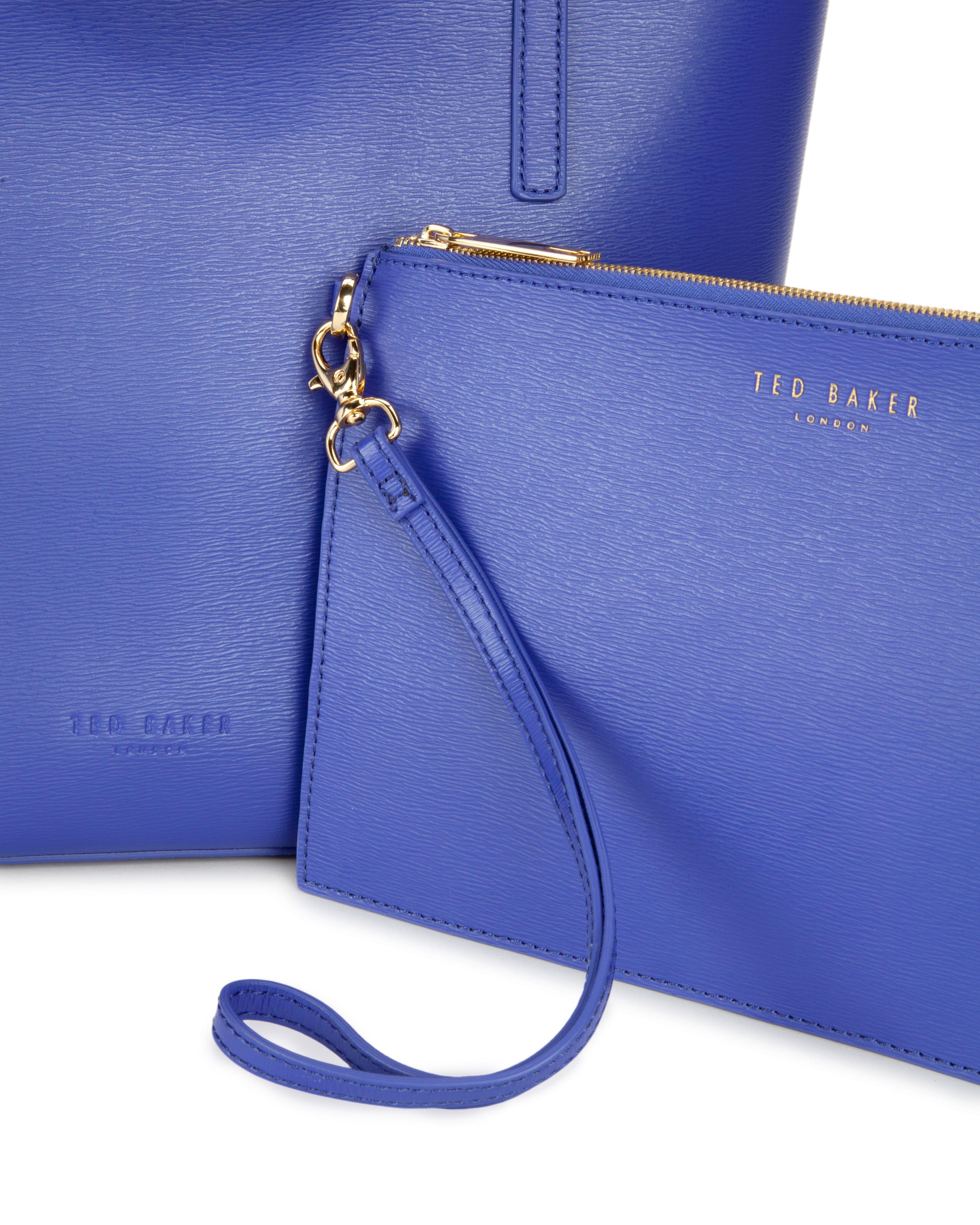 Ted Baker Isbellz Zip Top Crosshatch Shopper in Blue