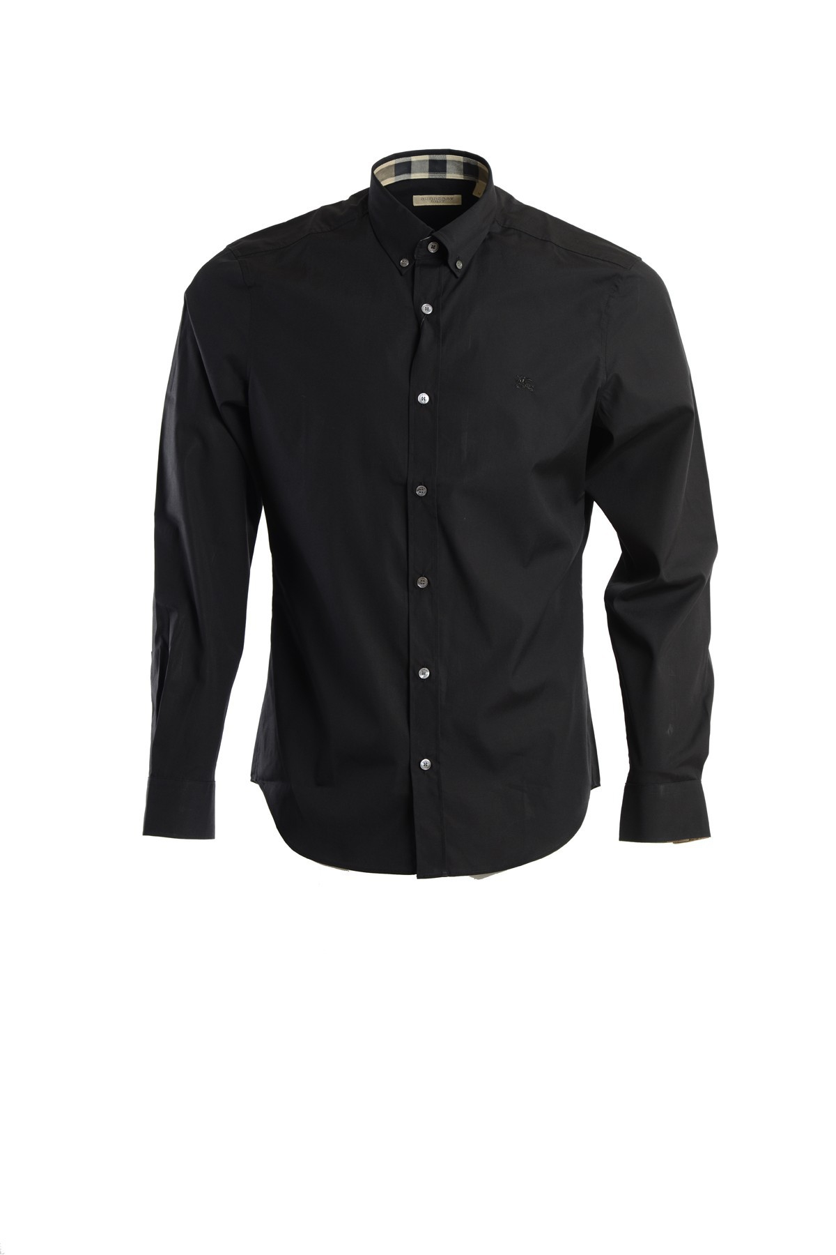 Burberry stretch cotton button down shirt in black for men for Womens stretch button down shirt