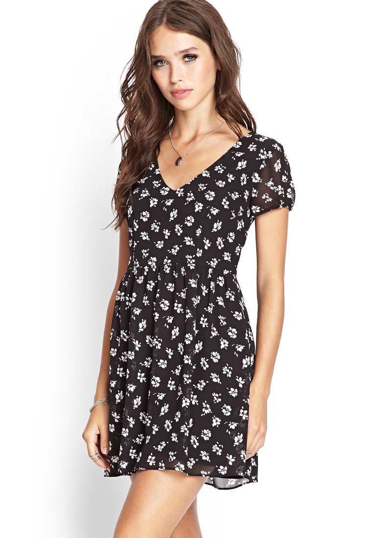 Forever 21 Dainty Floral Babydoll Dress In Black White