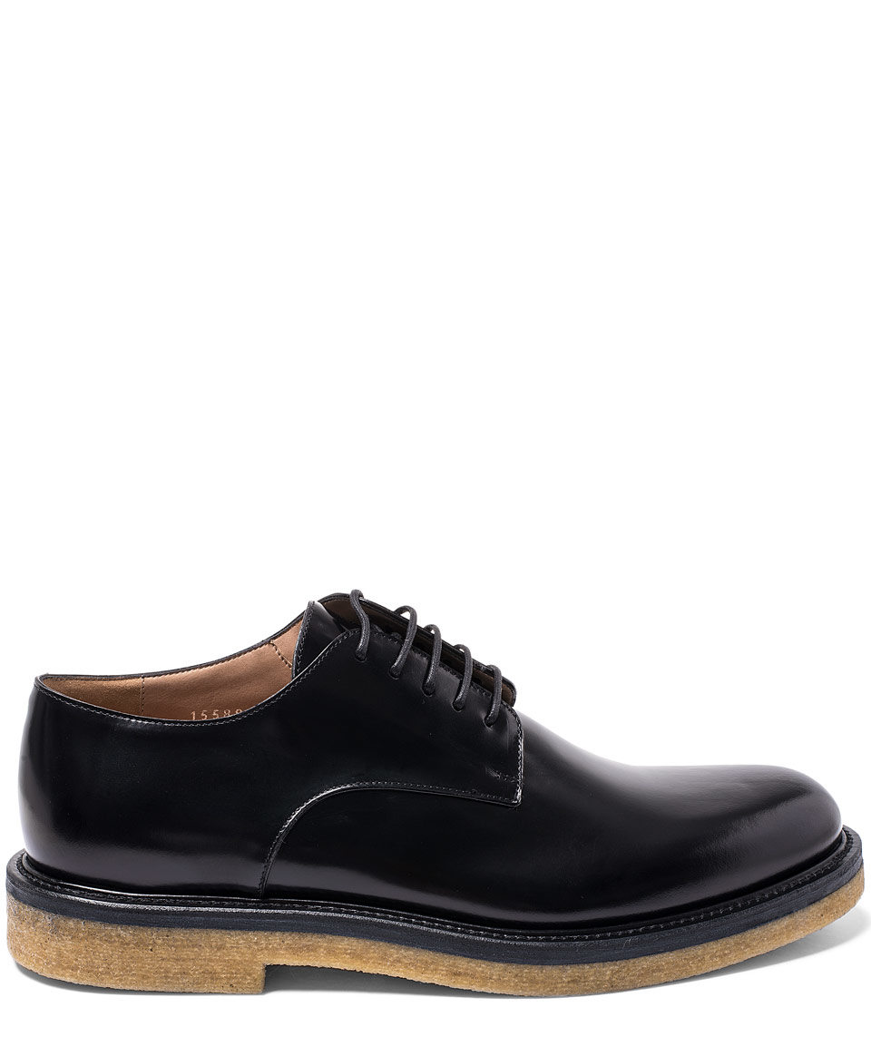 798a15cd57 Lyst - Dries Van Noten Black Crepe Sole Leather Derby Shoes in Black ...