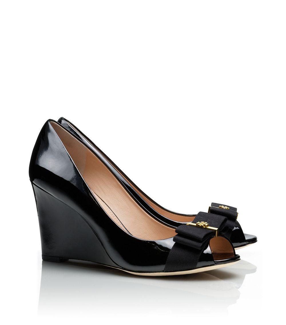 f063217256e6 Lyst - Tory Burch Trudy Patent Open-Toe High Wedge in Black